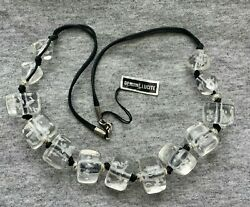 Nwt Vintage Mod Chunky Funky Clear Lucite Beaded Necklace Black Cord 20 Long