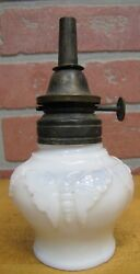 Butterfly Antique Oil Lamp Opalescent White Milk Glass Wallace And Sons Ansonia Ct