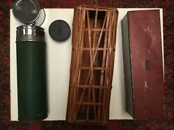 Rare Antique 1917 Landers Frary Andclark Universal Metal Thermos With Case/basket