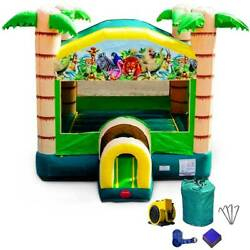 Inflatable Bounce House Commercial Jungle Blow Up Jump House Bouncer With Blower