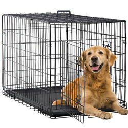 Dog Crate Extra Large Double Door Folding Dog Cage Pet Crate W/dividerandtray42