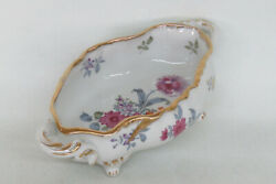 Lefton China Floral Porcelain Footed Oval Open Bowl With Two Handles 2320b