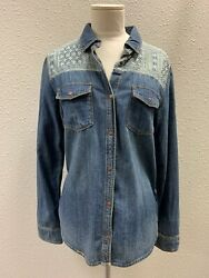 Womens Roxy Denim Shirt  Snap Top Fitted Long Sleeve Blouse Cotton Size Large