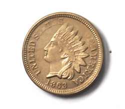 1863 1c Indian Head Penny One Cent Copper Rare Uncirculated