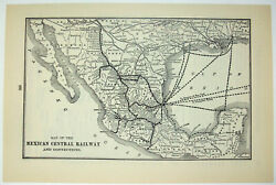 Original 1907 Map Of The Mexican Central Railway. Antique