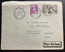 1954 Reims France Pommery Champagne Airmail Cover To Calgary Canada