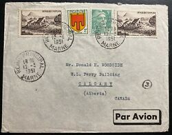 1951 Reims France Pommery Champagne Airmail Cover To Calgary Canada