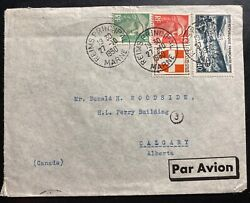 1950 Reims France Pommery Champagne Airmail Cover To Calgary Canada