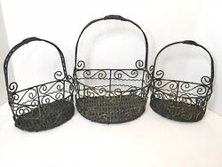 Set of 3 Rustic Farmhouse Wall Baskets Primitive Wire With Woven Base Blue Gray