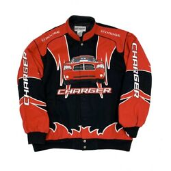 Dodge Charger All Over Design Racing Jacket Red Black Embroidered Patch XXL