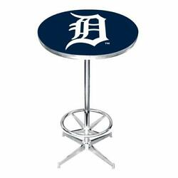 Detroit Tigers Pub Table Bar Party Kitchen Telescopic Base Game Room Indoor New
