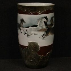 Oriental Vase Chinese Cup Object In Painted Ceramic Horses Antique Style