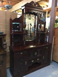 Large Beautiful Carved Mahogany 3 Mirrored Sideboard Storage Flowers Hutch