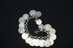 Charm Bracelet Small Silver Coin Collection Dime Size 1852-1949 - 6 Us