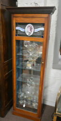 Antique French Perfume Display Cabinet With Leaded Glass Perfume Bottle Display