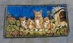 Vintage Tapestry Wall Hanging Corgie Family Puppies Italy 37.5 x 19 Inches