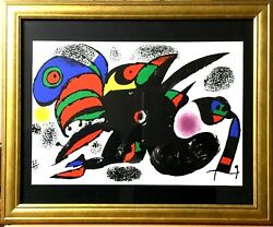 Joan Miro Hand Signed Lithograph Framed