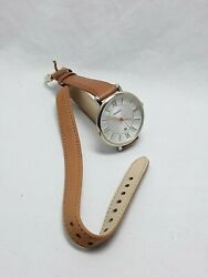 Fossil Gold Tone Jacqueline Womenand039s Tan Leather Band Silver Dial And Date Es3550