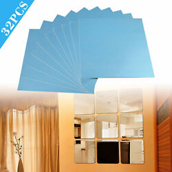 Mirror Tiles Self Adhesive Back Square Bathroom Wall Stickers Mosaic 32 Pack