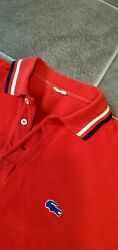 Vtg 50's Rare Lacoste Men's Red Polo Shirt Made In France