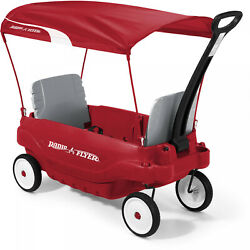 Radio Flyer Deluxe Family Wagon W Canopy Folding Seats Canopy Kids Outdoor Red