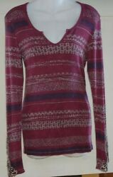 Gimmicks BKE Purple Pink Boho Long Sleeve Thermal Top Small Embroidered Sleeves
