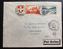 1951 Reims France Pommery Champagne Airmail Cover To Calgary Alberta