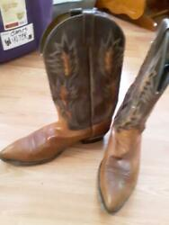 Used Dan Post Men's Cowboy Western Boots Brown and Tan Size 13D