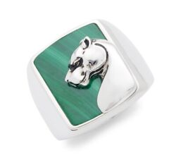 New Mens Sterling Silver And Malachite Panther Ring By Effy/ Size 10/ Retail 605