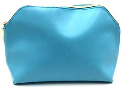 Lot of 3: Lancome Cosmetic Bags Faux Leather Blue Yellow $7.99