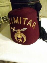 Vtg Jeweled Scimitar Shriners Red Fez W/ Tassel D Turin And Co And Hat Box