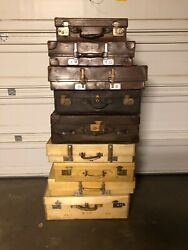 Rare - Heavy Leather - Antique Suitcases - Lot Of 9