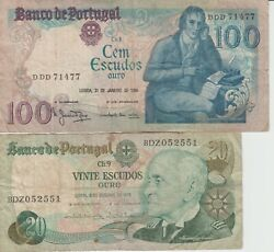 World Paper Money Portugal 1978 / 1984 100 And 20 Escudos Oro 2 Bank Notes