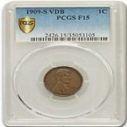 1909 S Vdb Lincoln Wheat F-15 Pcgs Key Date Rare Coin Authenticated