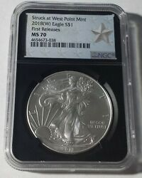 😃2018 W American Silver Eagle First Releases Ngc Ms70 Star Label Black Core