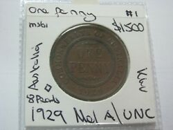 Australia Penny 1929 Mel Mint With 8 Pearls And Cd About Unc / Unc Coin 1500