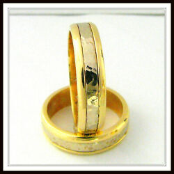 Two Tone 14 Kt Solid Gold Custom Made Wedding Band For Men And Ladies / Tf 0003
