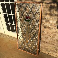 Beautiful Large English Victorian Stained Glass Window Leaded Green Red Yellow