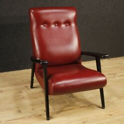 Armchair Furniture Chair In Wood Red Faux Leather Living Room Design Vintage