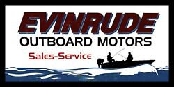Evinrude Outboard Motors Sales And Service Metal Sign