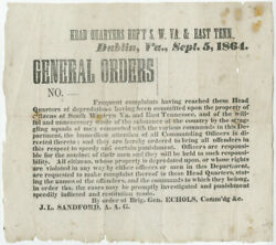 1864 Civil War Broadside Confederate General Orders Warning Not To Harass Locals