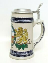 Vintage Munich Germany Beer Stein Zinn Pewter Lid With Thumblift Lion Crest Ston