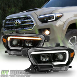 For Black 2016 2019 Toyota Tacoma LED Sequential Signal DRL Headlights Headlamps