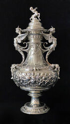ODIOT MUSEUM MYTHOLOGICAL HEAVY LARGE FRENCH STERLING SILVER COVERED VASE c.1850