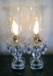 Pair Of Antique Crystal Etched Hurricane Lamps With Hanging Crystals