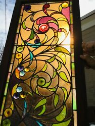 Beautiful Antique Stained Glass Window, Rondels, Pressed Jewels, Pointed Rondels