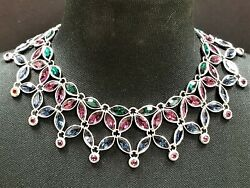 Yves Saint Laurent Purple Green And Blue Crystal Bib Necklace Numbered Lim Edit.