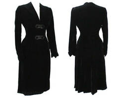 Size 6 1940s Suit - Black Velvet 40s Tailored Jacket And Skirt - Gorgeous Wwii Era