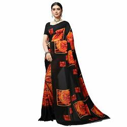 Black Printed Designer Bollywood Saree Party Wear Indian Sari