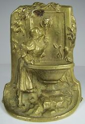 Lovely Maiden At Well Drinking Water From Lion Head Fountain Old Brass Bookend